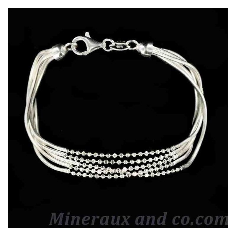 bracelet argent cinq fils serpentine bracelets cha nes boules perles. Black Bedroom Furniture Sets. Home Design Ideas
