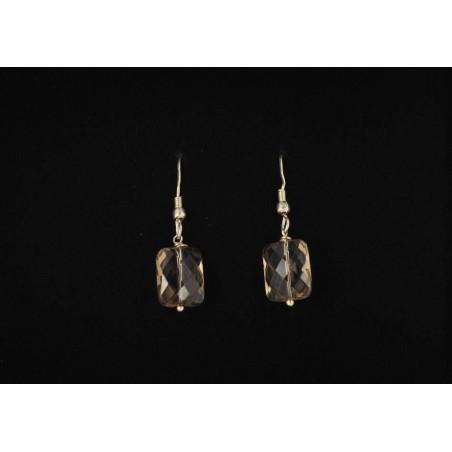 Boucles d'oreilles argent 925 et pierre coussin en quartz fumé.