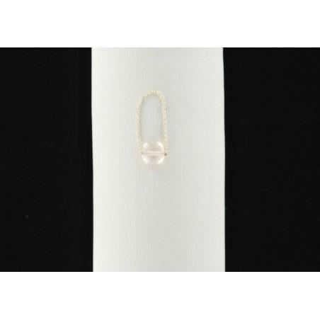 Bague chaîne et quartz rose.