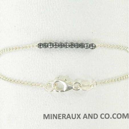 Bracelet hématite facettée et chaîne argent 925.