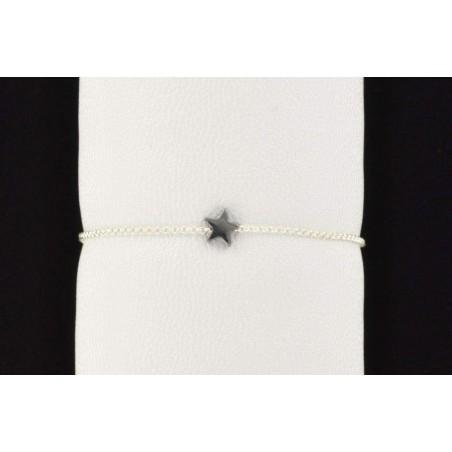 Bracelet chaine argent 925 et étoile en hématite