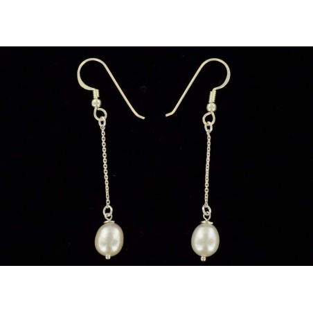 Boucles d'oreilles perles blanches et Chaîne