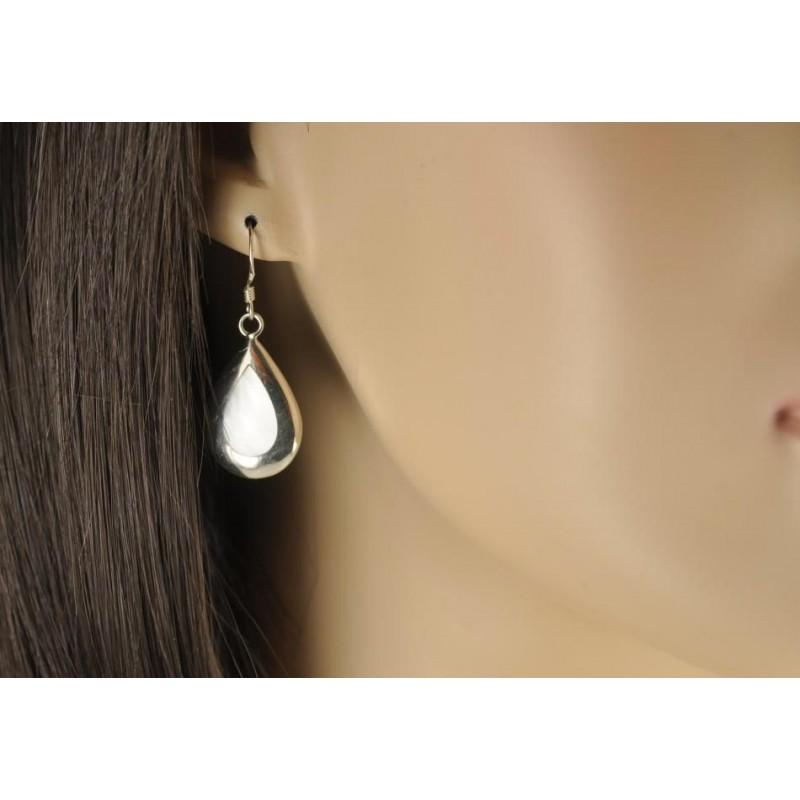 Boucles d'oreilles argent incrustée de nacre