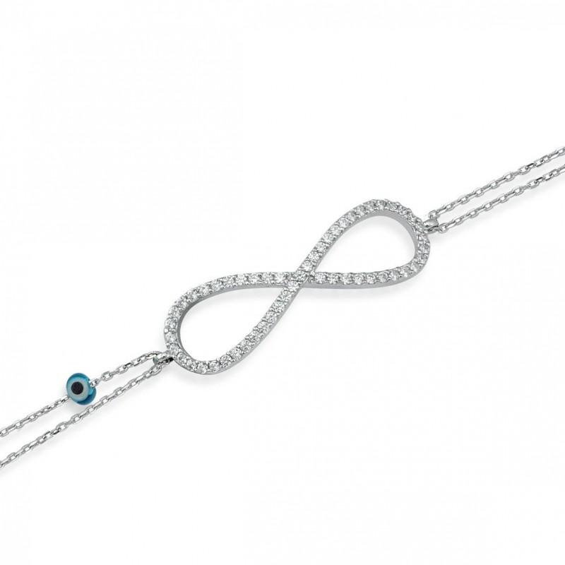 Bracelet signe infini double chaîne.