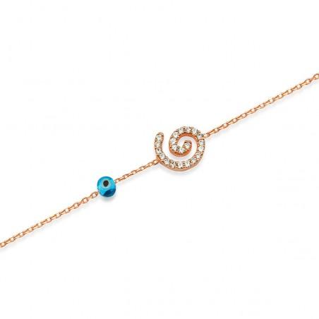 Bracelet spirale argent 925 et zirconium