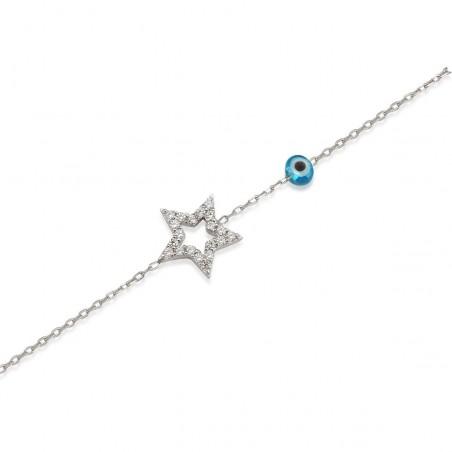 Bracelet étoile argent et zirconium
