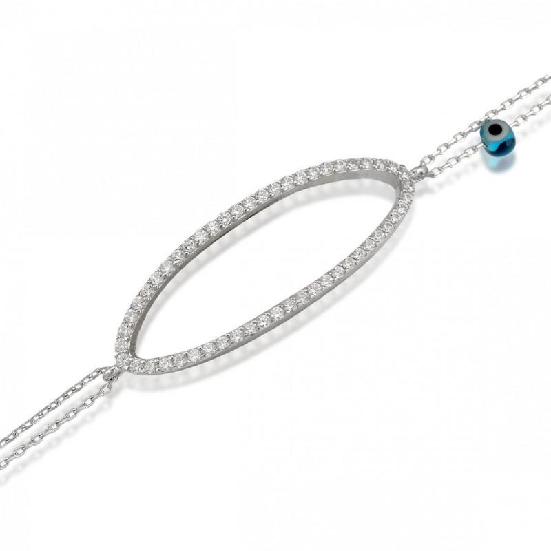 Bracelet double chaîne argent et zirconium transparent