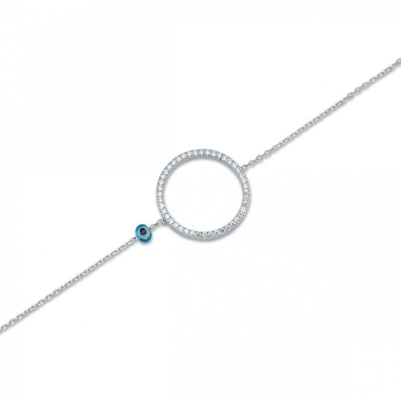 Bracelet cercle zirconiums sertis argent rhodié 925.