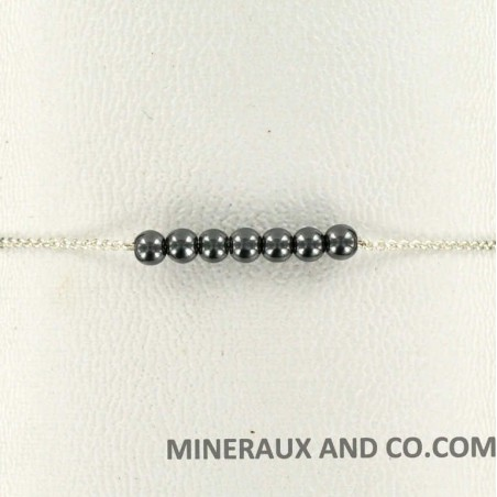 Bracelet chaîne 925 et perles hématite