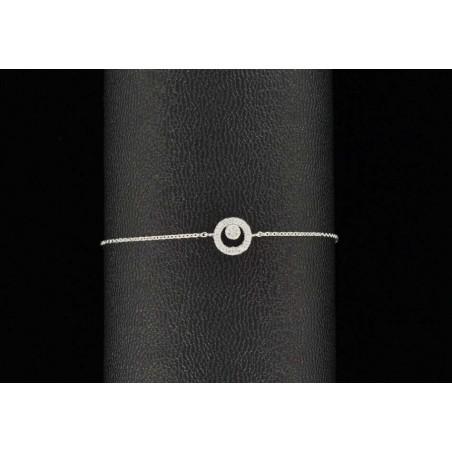 Bracelet chaîne argent et rond de zirconiums