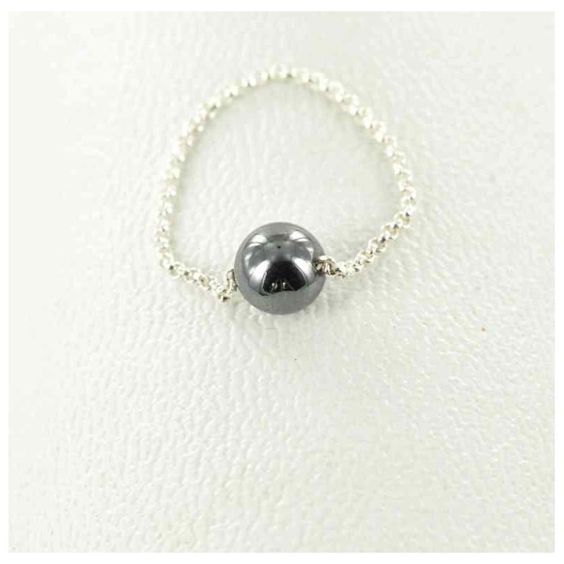 Bague chaînette perle hématite.