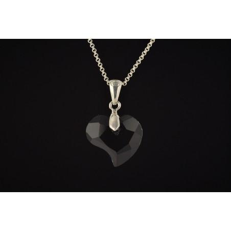 Pendentif cœur onyx attache et chaîne argent