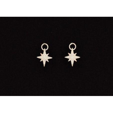 Boucles d'oreilles étoile du nord argent et zirconium.