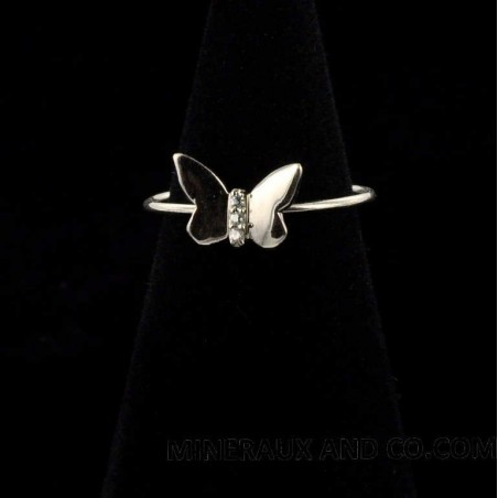 Bague anneau papillon argent 925 et zirconium