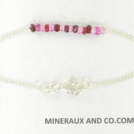 Bracelet perles de rubellite sur argent