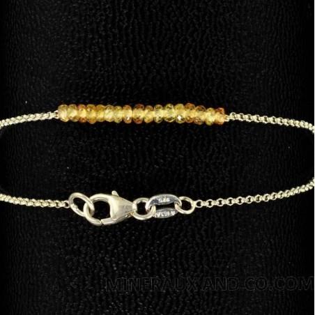 Bracelet perles de saphir jaune argent