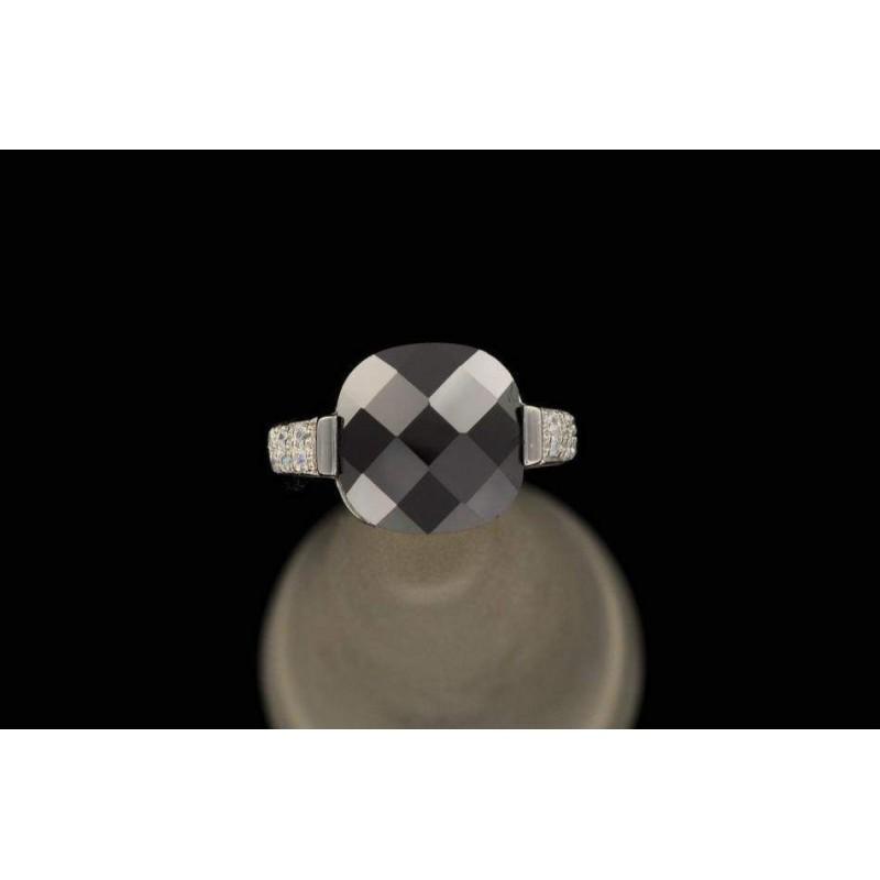 Bague zirconium noir et blancs argent