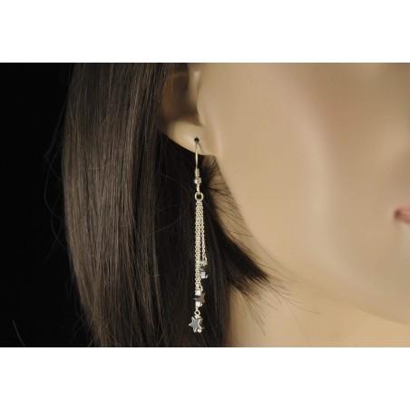 Boucles d'oreilles et étoile d'hématite.