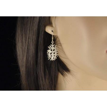 Boucles d'oreilles corail argent