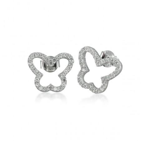 Boucles d'oreilles papillon argent et zirconium.