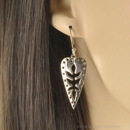 Boucles d'oreilles africa argent 925.