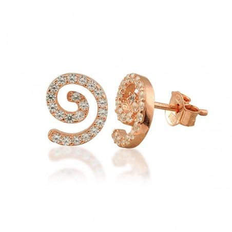 Boucles d'oreilles spirale argent et zirconium.