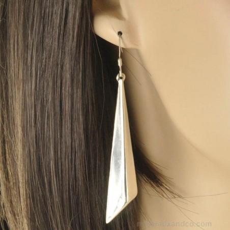 Boucles d'oreilles flèche argent brossé 925.