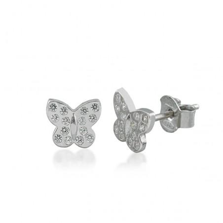 Boucles d'oreilles papillons argent et zirconium.
