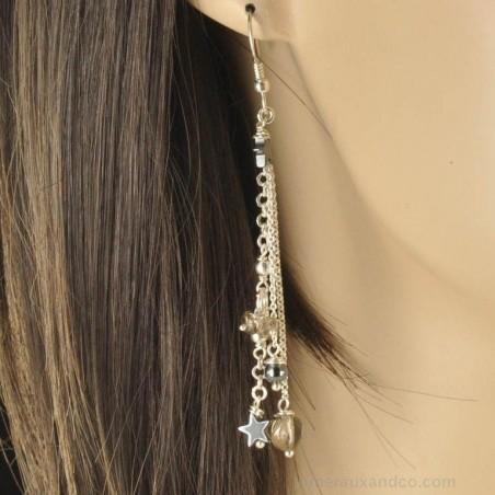 Boucles d'oreilles pendantes pierres et argent 925.
