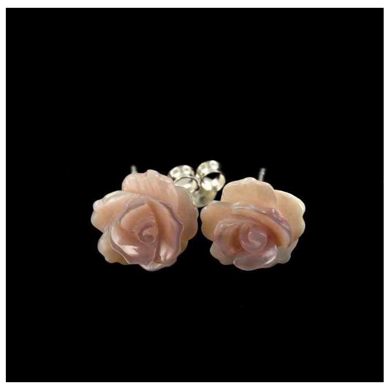 Boucles d'oreilles argent 925 bouton de rose en nacre rose
