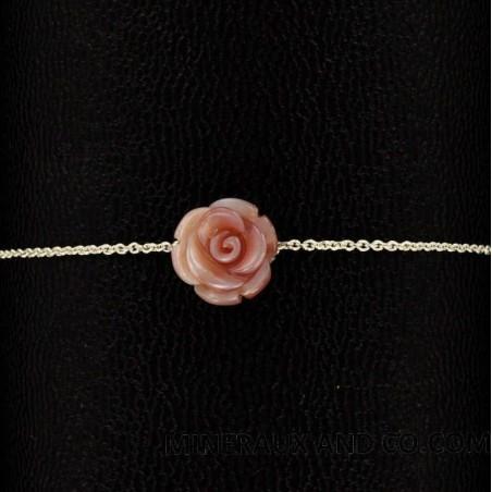 Bracelet chaîne argent 925 et rose de nacre rose.