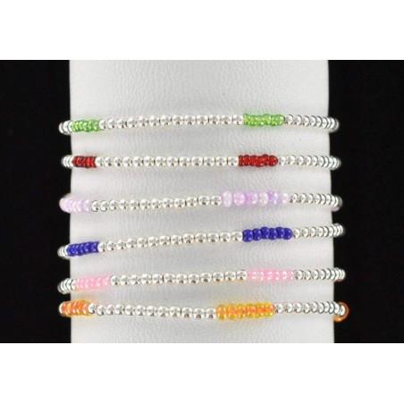 Bracelet perles argent 925 et perles colorées.