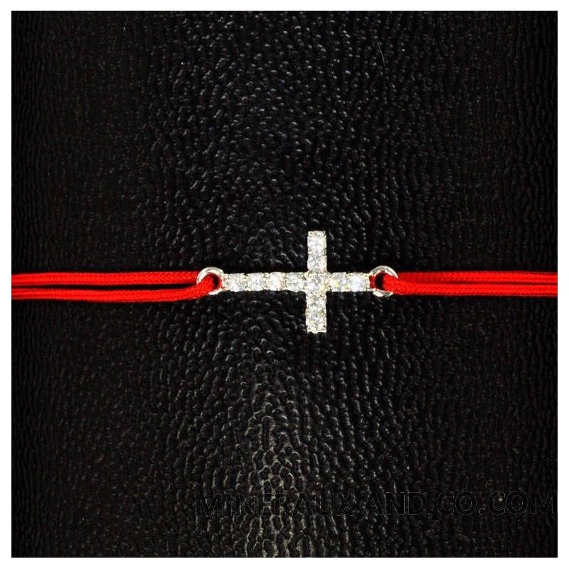 Bracelet trèfle argent et zirconium sur cordon