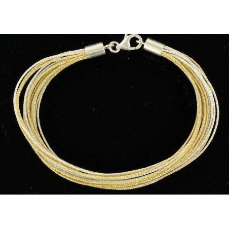 Bracelet fil de soie doré et argenté avec fermoir en argent
