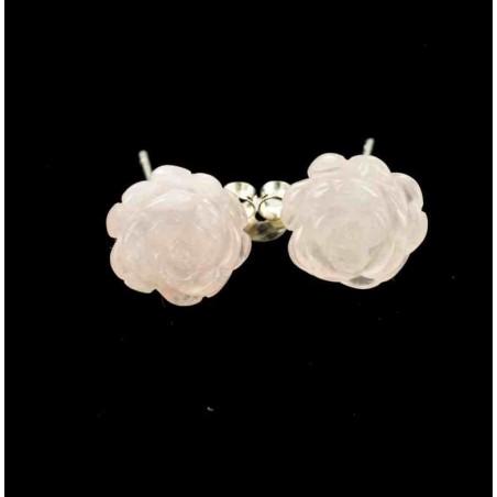 Boucles d'oreilles tiges argent et roses de quartz rose.