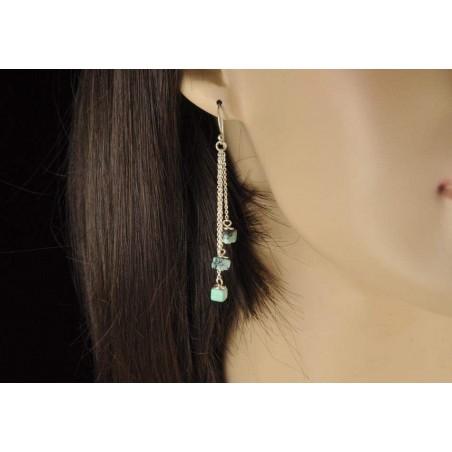 Boucles d'oreilles chaînettes argent et petits carrés en turquoise.