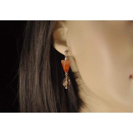 Boucles d'oreilles quartz fumé facetté et cornaline.