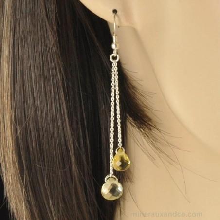 Boucles d'oreilles chainette argent quartz jaune