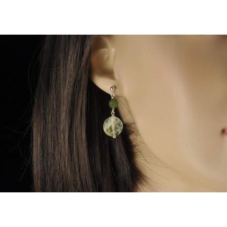Boucles d'oreilles jade et agate préhnite et argent