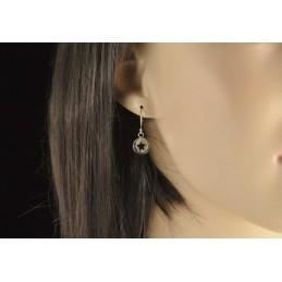 Boucles d'oreilles médailles étoiles en argent