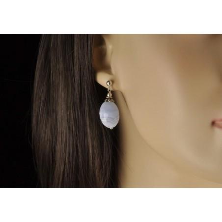 Boucles d'oreilles calcédoine bleue et argent 925.