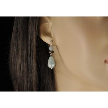 Boucles d'oreilles aigue-marine et argent