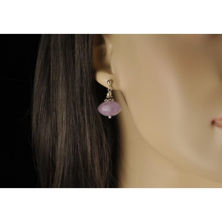 Boucles d' oreilles améthyste pastel argent.