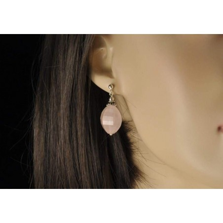 Boucles d'oreilles quartz rose facetté et argent