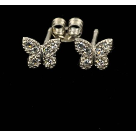 Boucles d'oreilles petits papillons argent et zirconium.