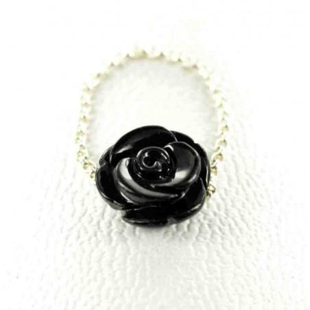 Bague chaîne rose noire argent 925.