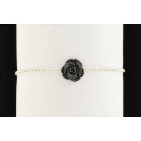 Bracelet argent et roses noires