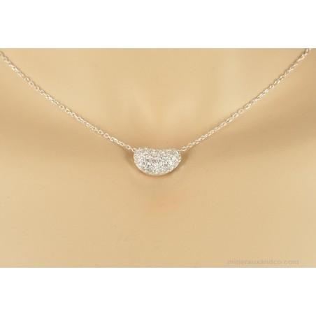 Pendentif perle et chaîne argent 925 zirconiums sertis.