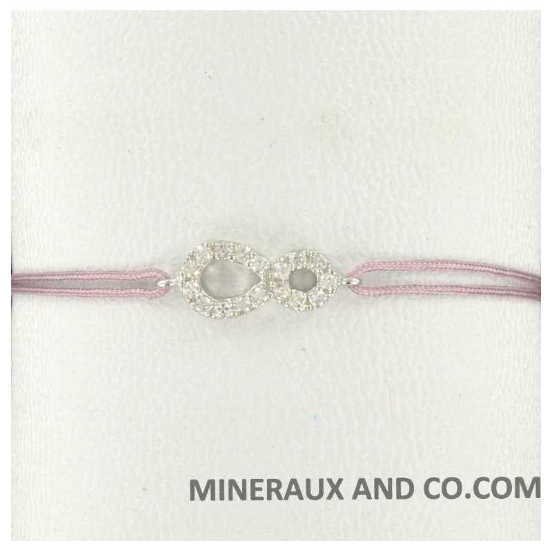 Bracelet infini zirconium et cordon.