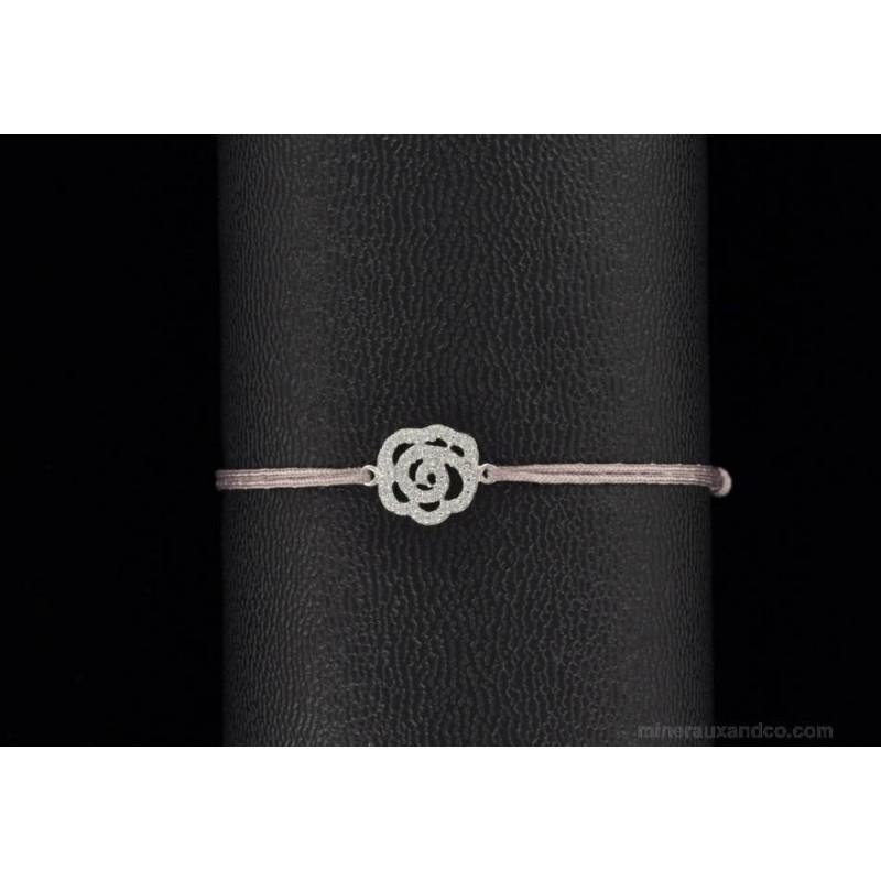 Bracelet rose zirconium argent 925 et cordon.